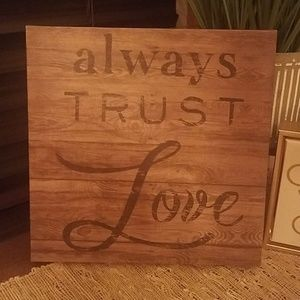 Wood-look wrapped canvas sign